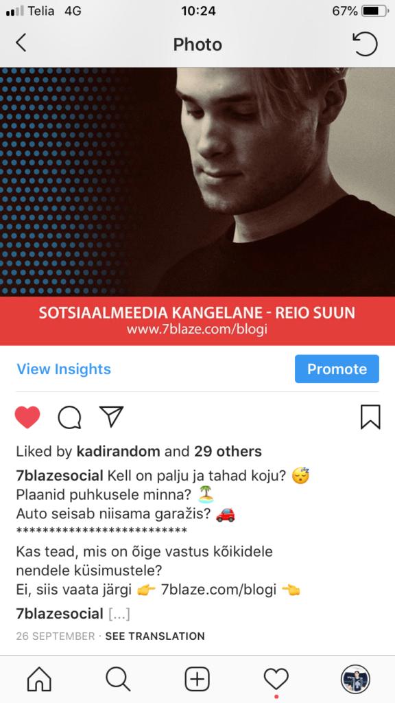 Instagrami turundus kirjeldus